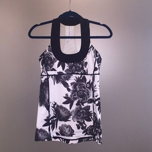 Lululemon White and Black Floral Print Tank